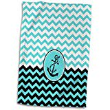 3D Rose Chic Nautical Anchor Design Over Blue and White Chevrons Hand Towel 15 x