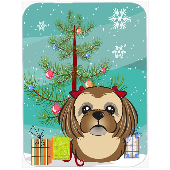 Christmas Tree And Chocolate Brown Shih Tzu Mouse Pad, Hot Pad & Trivet