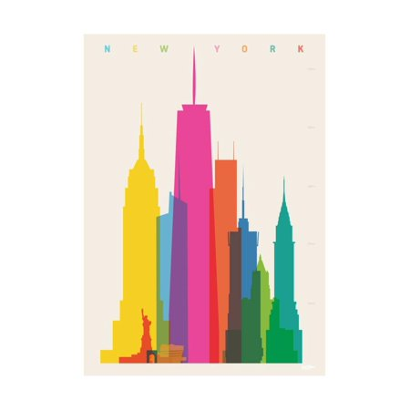 NYC New York Skyscrapers Cityscape Colorful Retro Graphic Design Print Wall Art By Yoni Alter