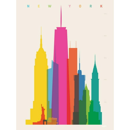 Free Altered Art Images (NYC New York Skyscrapers Cityscape Colorful Retro Graphic Design Print Wall Art By Yoni)