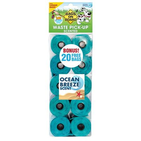 Bags on Board Odor Control Dog Poop Bags | Ocean Breeze Scent | 140 Waste Pickup - Poop Pickup Bags
