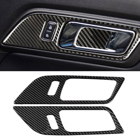 FAGINEY 2Pcs Left Driving Carbon Fiber Interior Door Decoration Strip Trim Fit for Ford Mustang ,Car Door Decoration Strip, Door Decoration Trim Mustang Carbon Fiber Interior