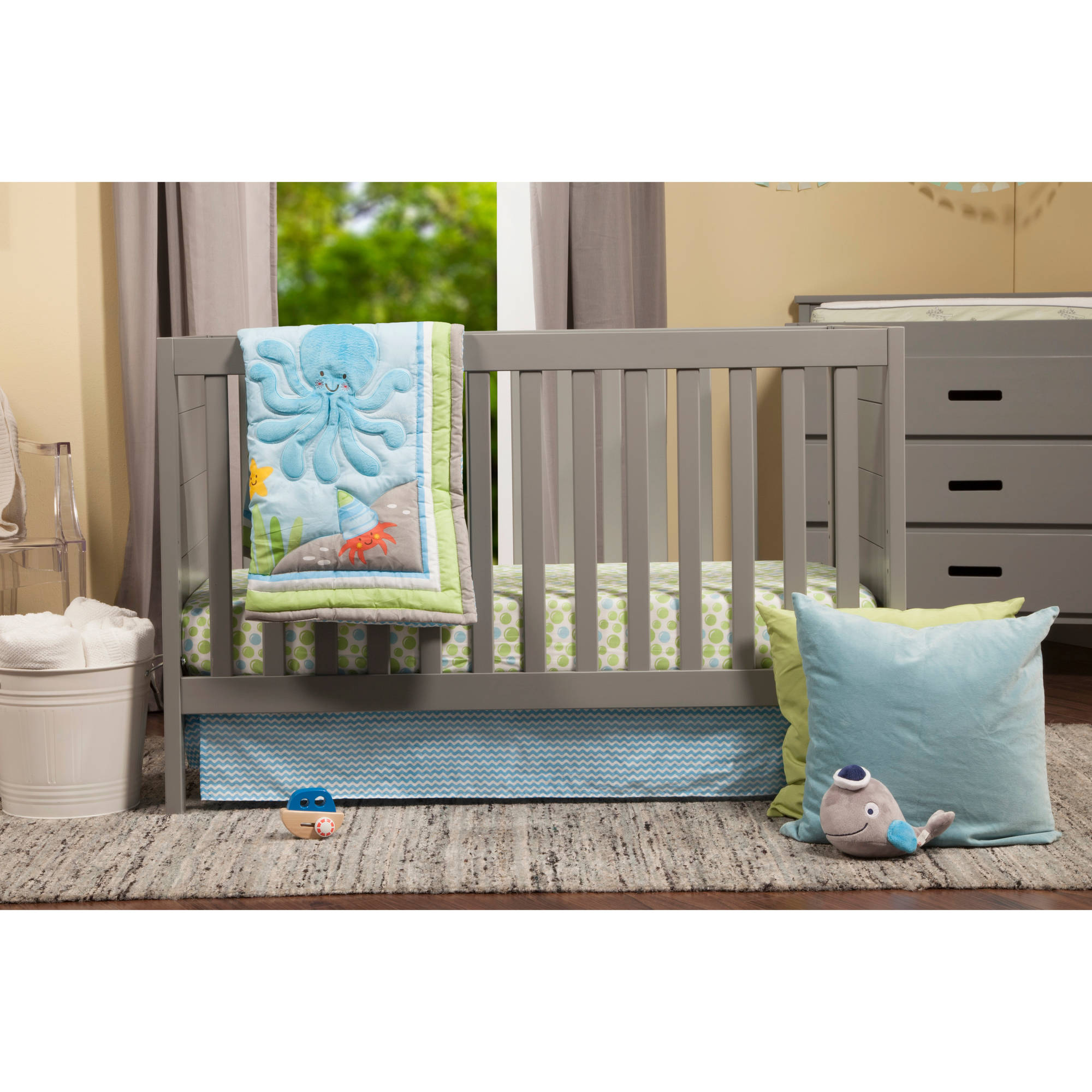 Baby Mod Modena  3-in-1 Fixed Side Crib, Cool Grey