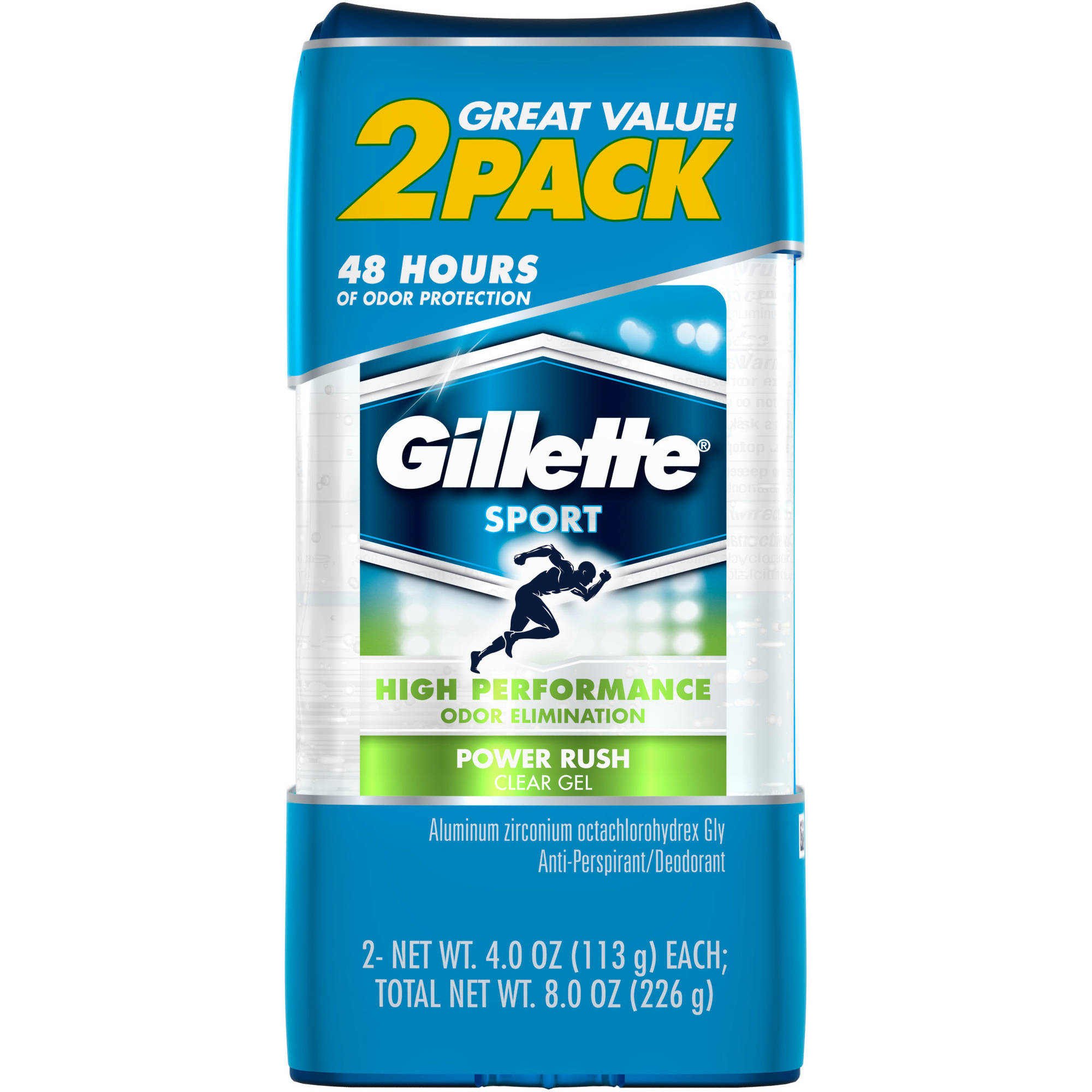 Gillette Power Rush Clear Gel Anti-Perspirant/Deodorant, 4 oz, 2 count