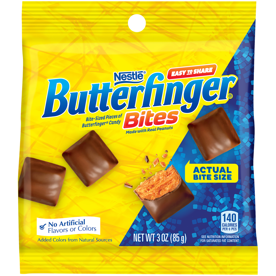 Butterfinger Bites Chocolate, Peanut Butter Candy, 3oz Bag (Box of 12)