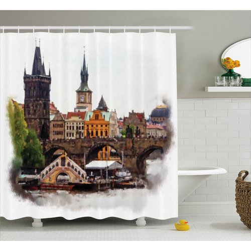 Ebern Designs Brunelle  Calm Nature Landscape Shower Curtain