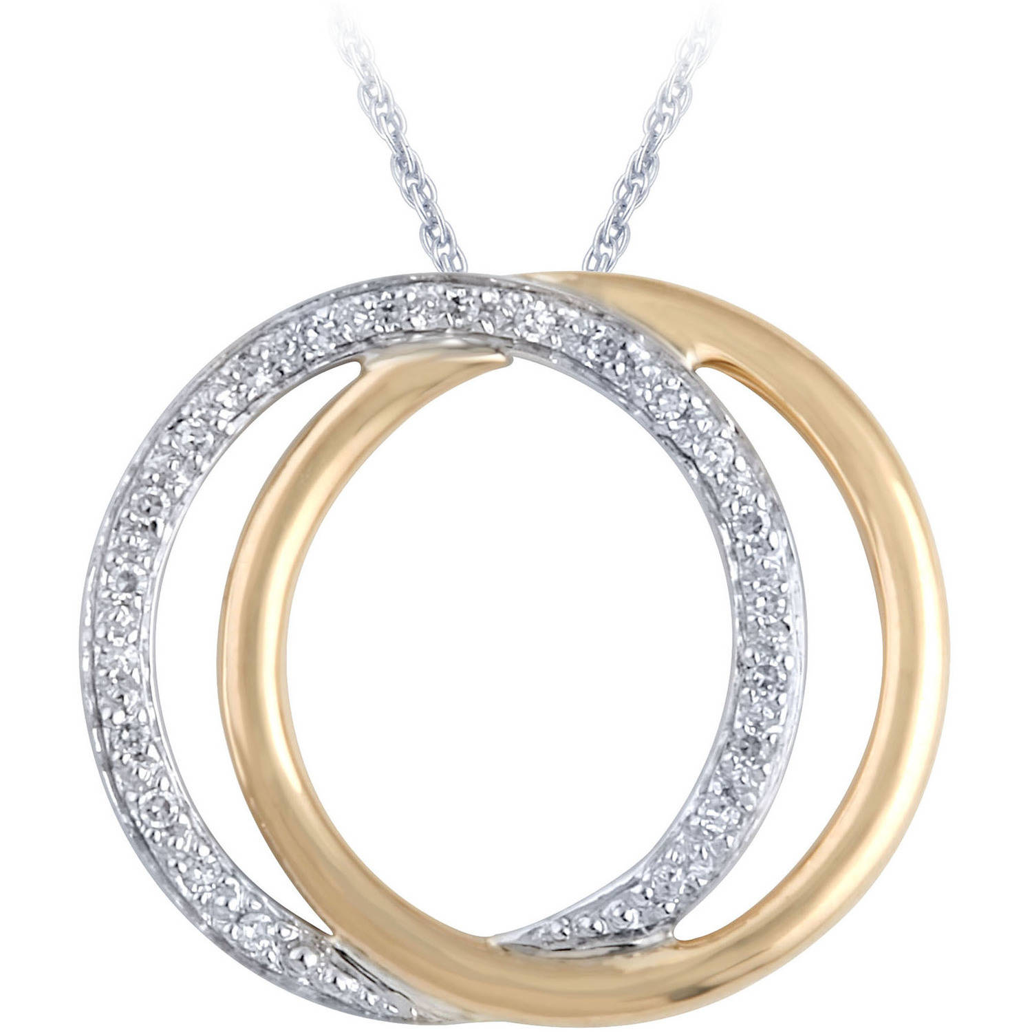 "1/10 Carat T.W. Diamond Sterling Silver and 10kt White Gold Pendant, 18"" Chain"