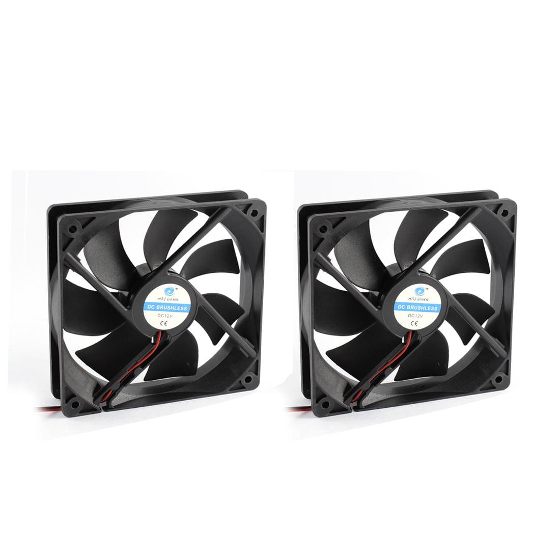 Unique Bargains 2pcs 12V 7 Fans DC Brushless Axial Cooling Fan Heatsink Cooler 12 x 12 x 2.5cm