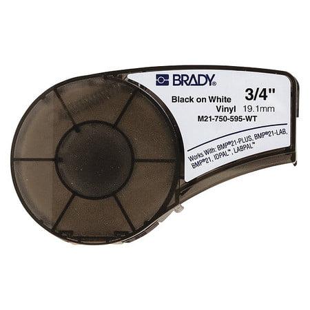 Brady M21-750-595-WT Black/White Label Tape Cartridge, 3/4 In. W