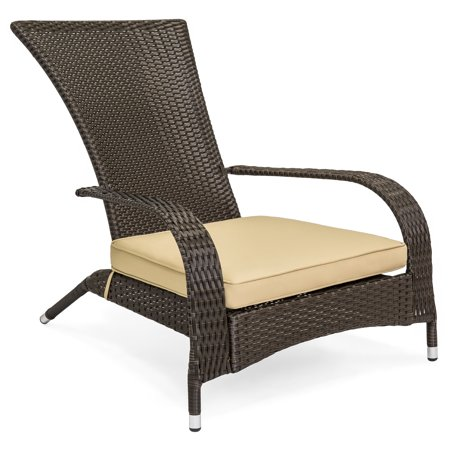 Best Choice Products All-Weather Wicker Adirondack Chair for Backyard, Patio, Porch, Deck - Beige ()