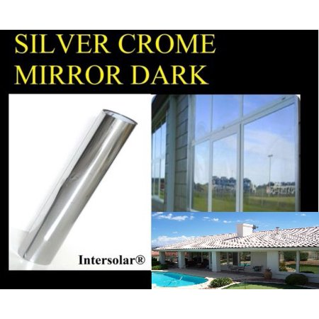 "Window Tint Silver/Black Film Chrome Mirror HP 2ply 5% Dark- 24""x 25"