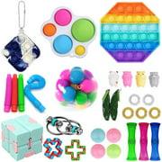 30PCS Fidget Toys Set Sensory Simple Dimple Pop Bubble Infinite Cube Stress Ball Anti-Anxiety Toys