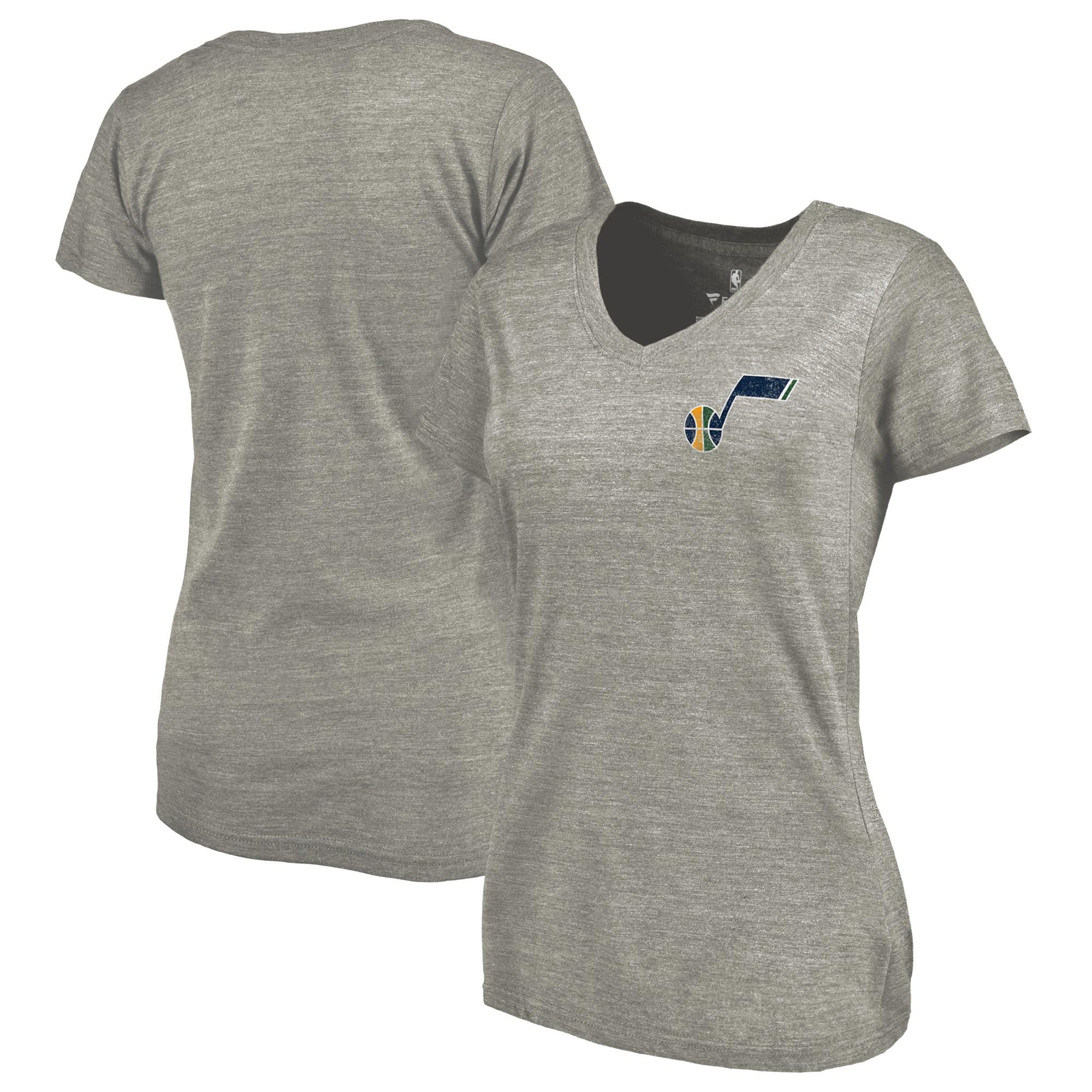 Utah Jazz Fanatics Branded Women's Primary Logo Left Chest Distressed Tri-Blend V-Neck T-Shirt - Heathered Gray