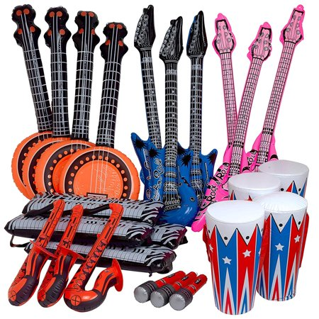 Rock Band Instrument Inflate Assortment - Cool and Fun Inflatable Musical Instruments for Kids - Great Party Favor, Party Bag Stuffer, Giveaways, Novelty Toys