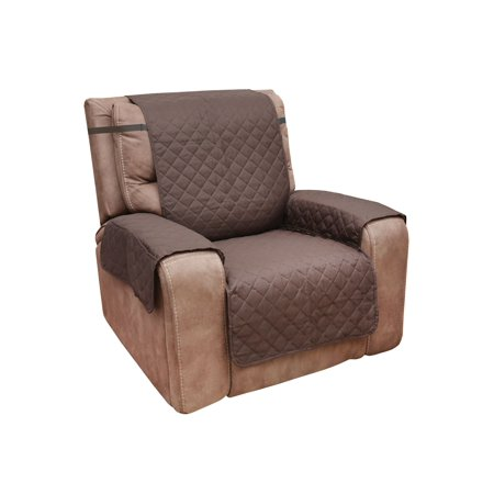 Home District Reversible Quilted Microfiber Recliner Chair Cover with Pockets - Protects Furniture from Pet Hair and (Fleece Recliner Cover)