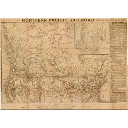 Northern Pacific Railroad Map (LAMINATED POSTER Map of The Northern Pacific Railroad and Tributary Country POSTER PRINT 24 x 36)