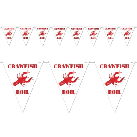 Club Pack of 12 White and Red Outdoor Crawfish Boil Pennant Banner Hanging Party Decorations 12'