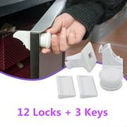 (12 Locks + 3 Keys) Magnetic Cabinet Locks Child Proof Baby Safety Set - No Tools Or Screws Needed