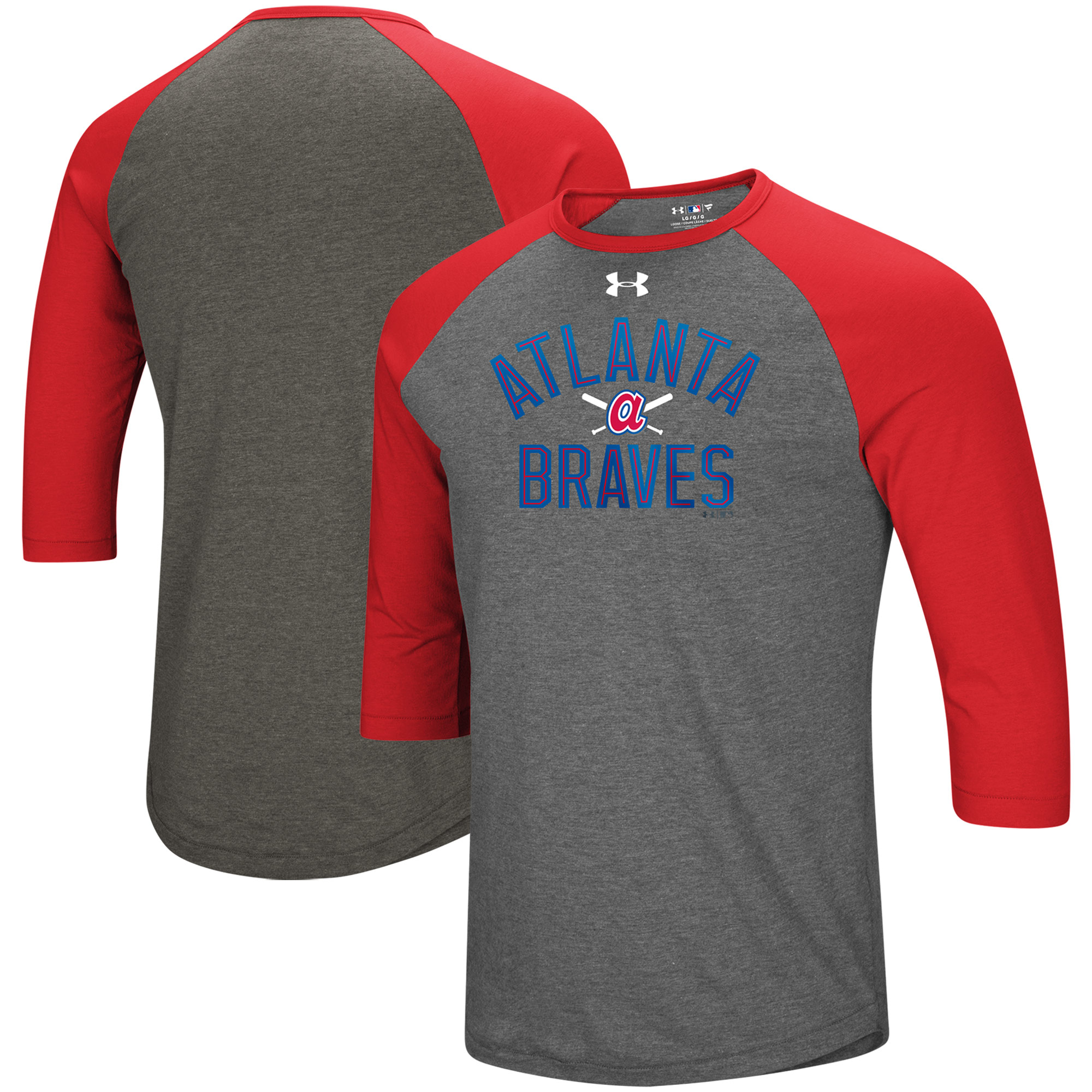 Atlanta Braves Under Armour Tri-Blend Cooperstown Crossed Bats 3/4-Sleeve Raglan Performance T-Shirt - Heathered Gray/Red