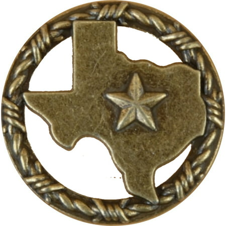 Texas with Barbwire Drawer Cabinet Knob in Antique Brass