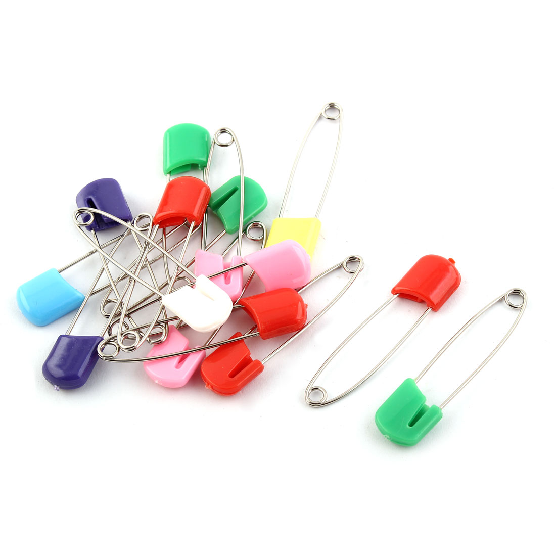 Household Clothes Fastening Stitch Needle Clip  Pin Assorted Color 15pcs