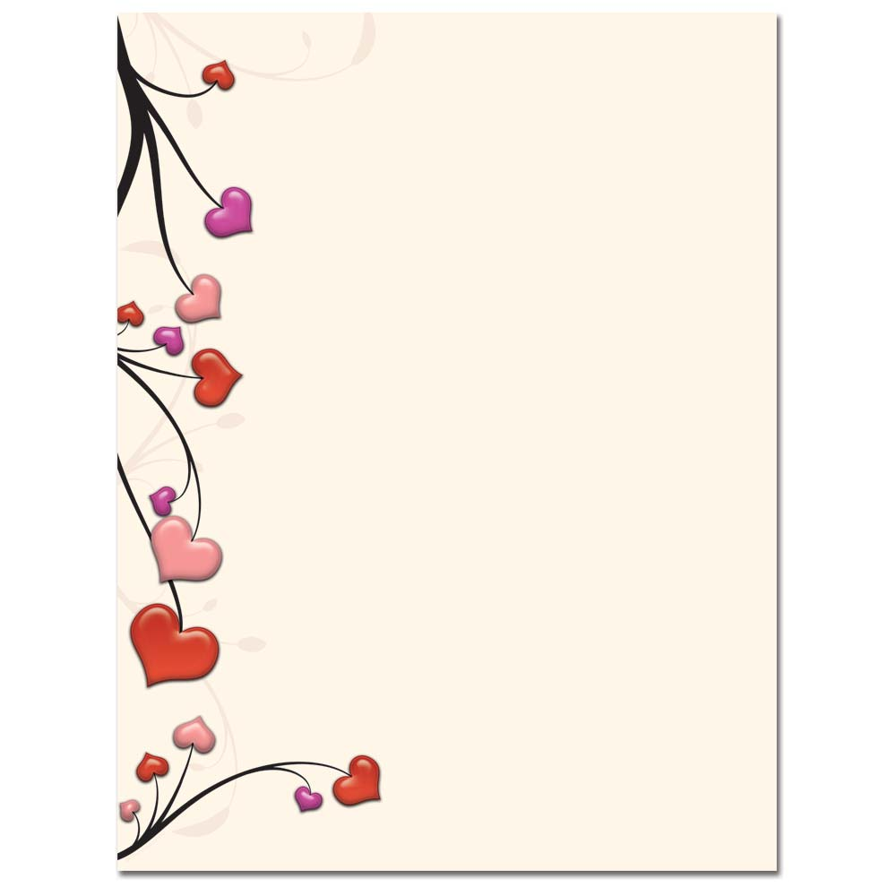 Heart Vines Letterhead Printer Paper, 80 Sheets