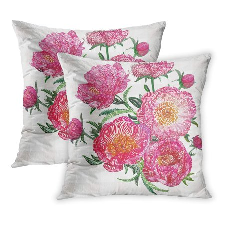 ECCOT Red Imitation Flower Vintage Hand Stitching Bouquet of Pink Peonies on Beautiful Floral and Watercolor PillowCase Pillow Cover 16x16 inch Set of 2
