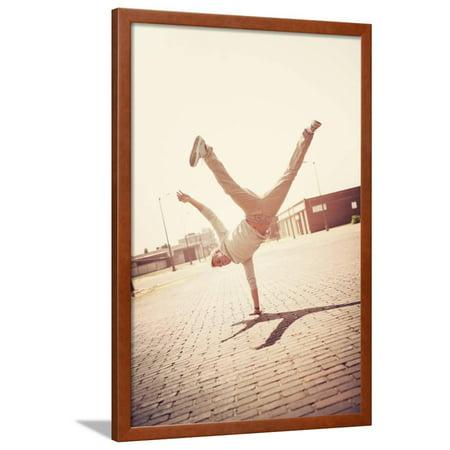 Handstand Framed (Boy Doing a Handstand Framed Print Wall Art By soupstock )