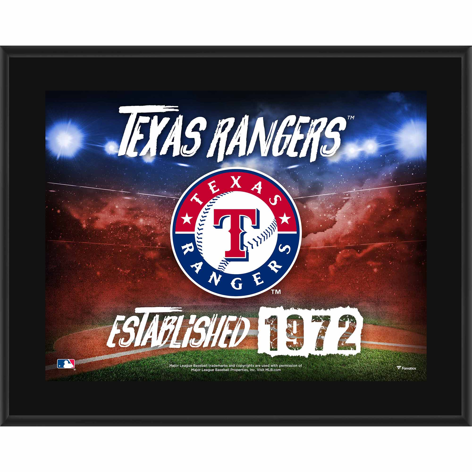 "Texas Rangers Fanatics Authentic 10.5"" x 13"" Sublimated Horizontal Team Logo Plaque - No Size"