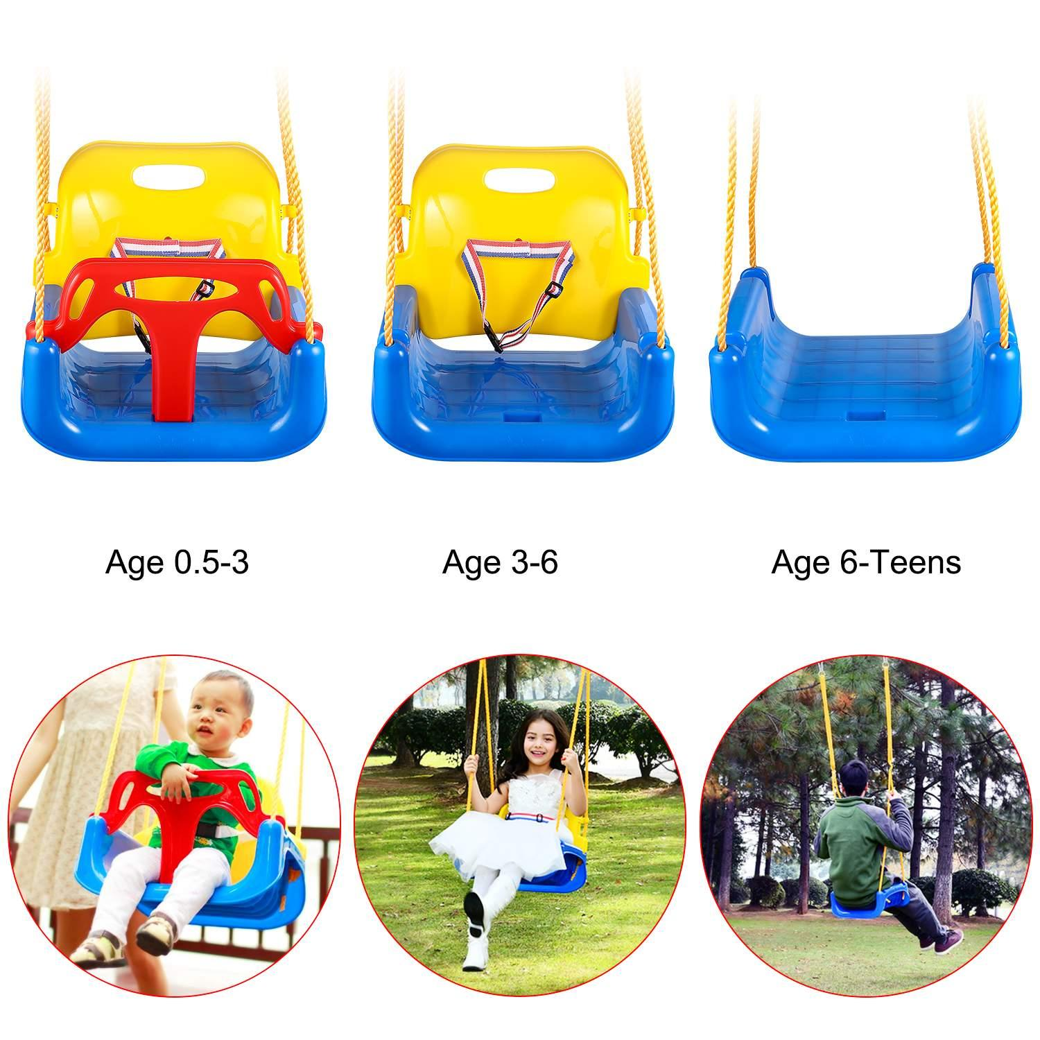 3 In 1 Bucket Swing Seat High Back Swing For Toddler Baby Indoor