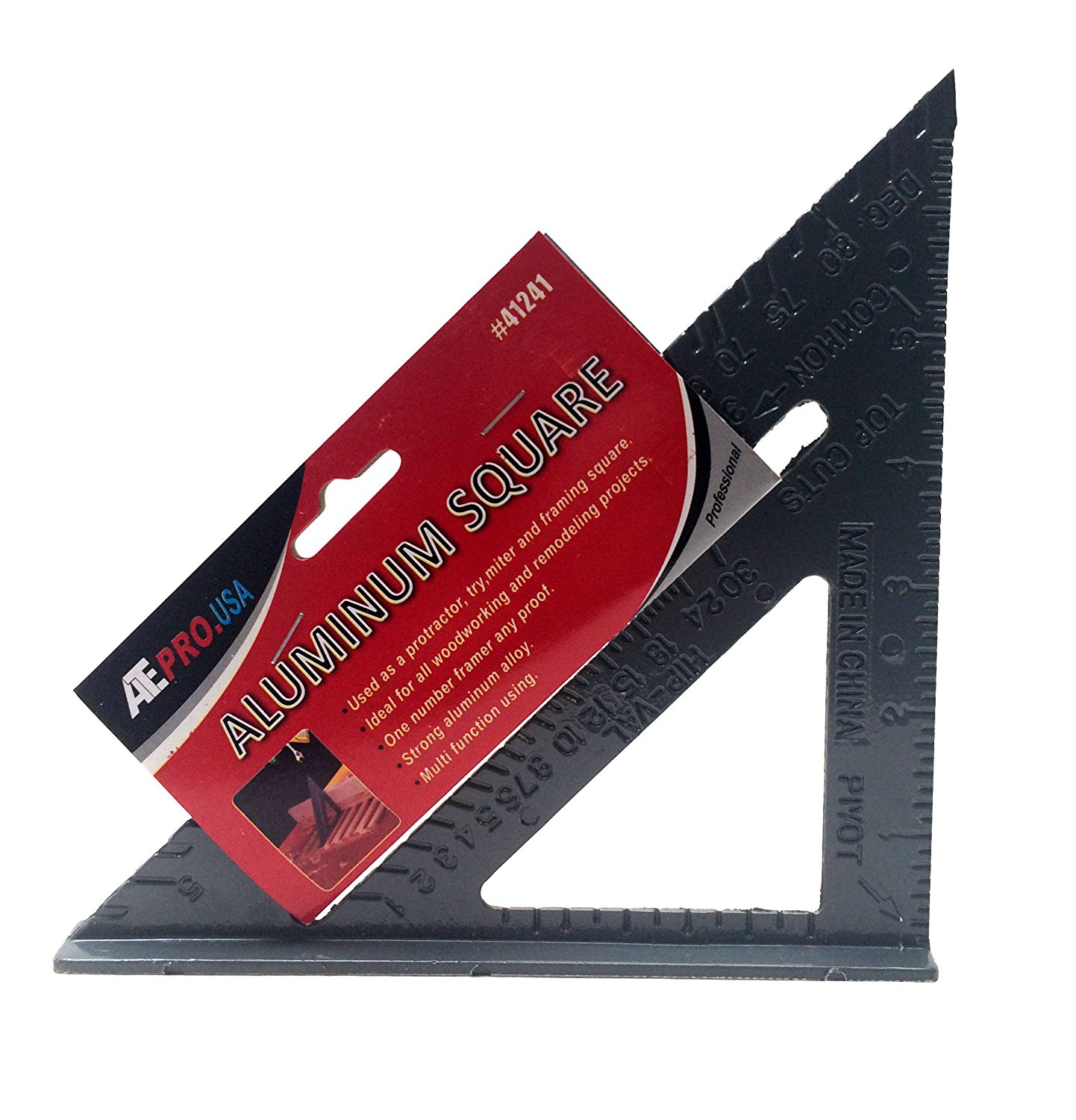 "Aluminum Carpenter Angle Square 7"" Used As a Protractor, Miter and Framing Square by"