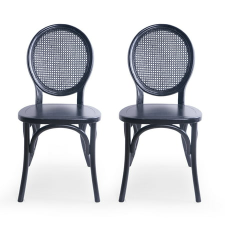 Ruhan Elm Wood and Rattan Dining Chair (Set of 2), Matte Black ()