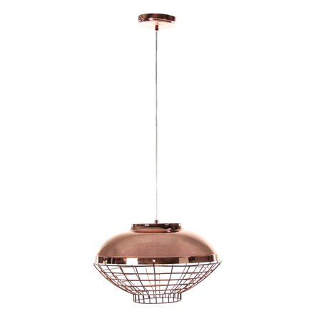 - Decmode Contemporary 9 x 13 inch one light iron pendant with bulb, Copper Brown