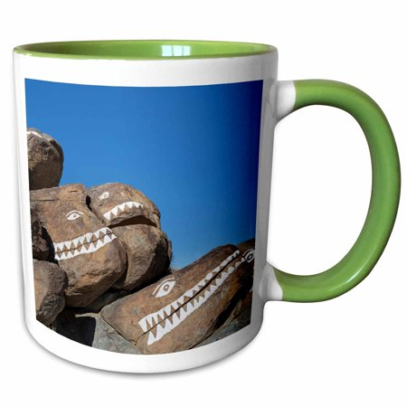 Crocodile Rock - 3dRose USA, California, Trona Pinnacles. Rocks painted with crocodile faces - Two Tone Green Mug, 11-ounce