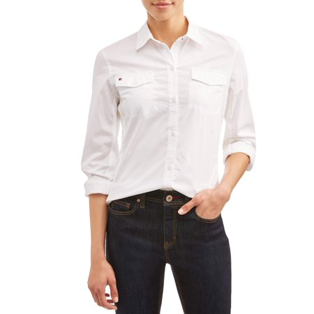 Ev1 From Ellen De Generes Washed Cotton And Stretch Rib Knit Contrast Button Down Shirt by Ev1 From Ellen De Generes