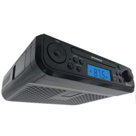 Sylvania SKCR2713 Under Counter CD Player with Radio and Bluetooth, Black (Under Cabinet Kitchen Radio)
