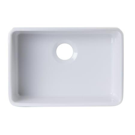 ALFI Brand AB503UM-W 24 inch White Single Bowl Fireclay Undermount Kitchen (Undermount Fireclay Single Bowl Apron)
