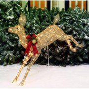 """Holiday Time 42"""" Glittering Champagne Running Doe Light Sculpture"""
