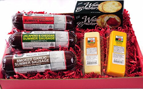 Wisconsin's Best Snacker Gift Basket features Smoked Summer Sausages Sampler, 100%... by