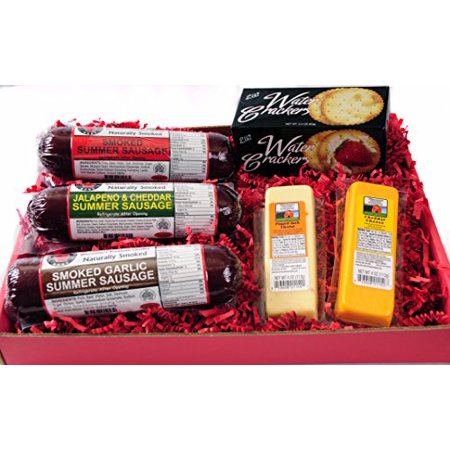 Wisconsin's Best Snacker Gift Basket - features Smoked Summer Sausages Sampler, 100% Wisconsin Cheeses and Crackers - A Perfect Snack or (Best Sausage And Cheese Gift Baskets)