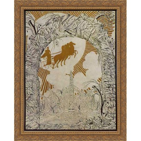Front Page Of Apollo Magazine 28X34 Large Gold Ornate Wood Framed Canvas Art By Heorhiy Narbut