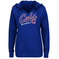 Women's Majestic Royal Chicago Cubs Fresh & Exciting V-Neck Pullover Hoodie