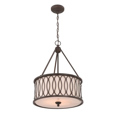 - Lite Source Tacey 3-Light Pendant, Dark Bronze Finish with Dark Bronze Outer and White Inner Shade