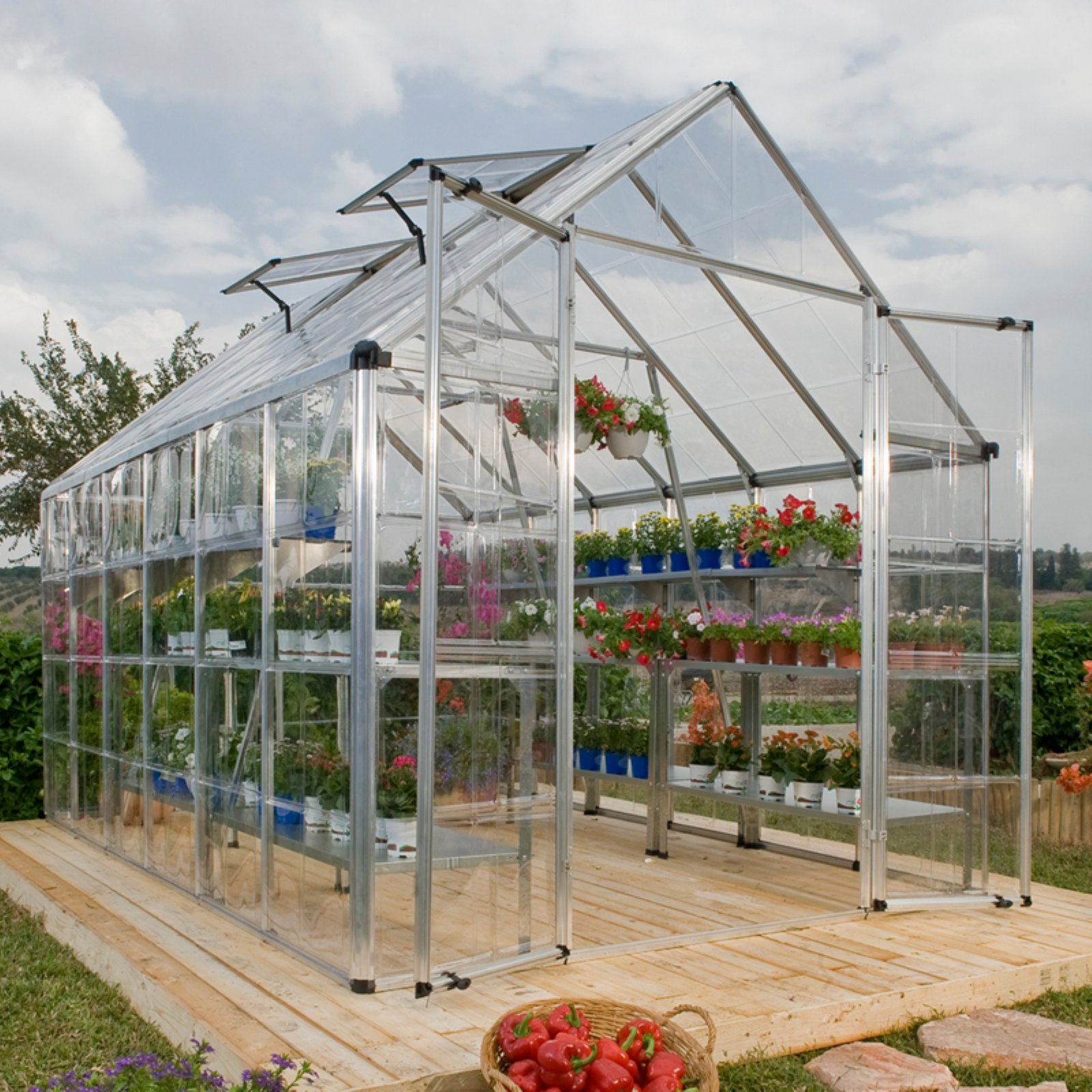Snap and Grow 8' x 20' Silver Frame Hobby Greenhouse by Palram