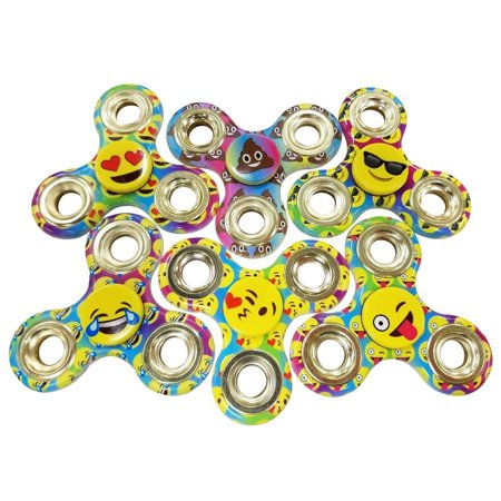 Emoji Six  6  Pack Of Fidget Spinner Toys   Helps Relieves Symptoms Of Stress Boredom Adhd Add   Helps Focus At School Class Home Work   Poop Sunglasses Love Wink Cry Tongue