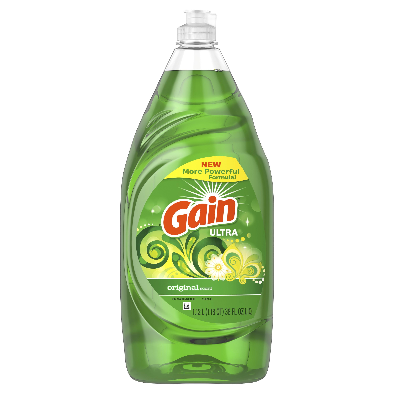 Gain Ultra Dishwashing Liquid Dish Soap, Original Scent, 38 fl oz