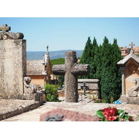 Framed Art For Your Wall Cemetery Cross Gravestone Graves Stone Cross 10x13 - Cross Gravestone