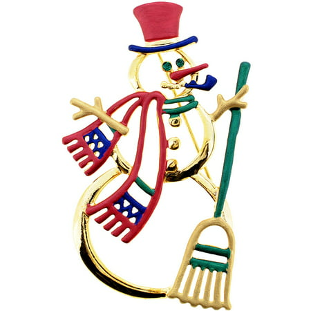 Golden Christmas Snowman Pin Brooch - Pin The Nose On The Snowman