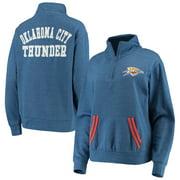 Oklahoma City Thunder New Era Women's Striped Trim Tri-Blend Half-Zip Pullover Jacket - Blue