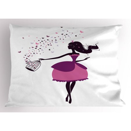 Princess Pillow Sham, Graphic Silhouette of a Princess Girl Holding a Cage of Butterflies, Decorative Standard King Size Printed Pillowcase, 36 X 20 Inches, Black Purple and Pink, by - Princess Sham